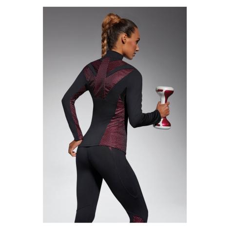 Čierno-ružový top s dlhým rukávom Inspire Blouse 200DEN Bas Bleu