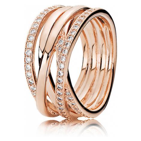 Pandora Bronzový prepletený prsteň 180919CZ mm