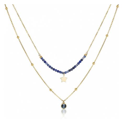 S`Agapõ Dvojitý oceľový náhrdelník s ozdobami Aurora SAR10 S'Agapõ