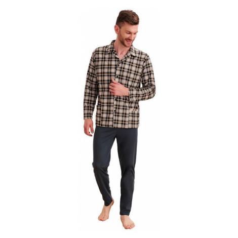 Pánske pyžamo Gracian káro hnedé Taro