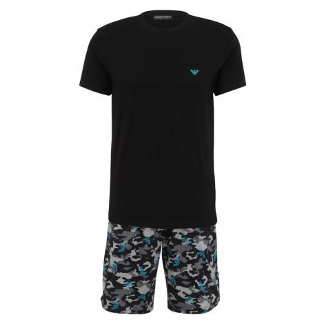Emporio Armani Krátke pyžamo  čierna / modrá / tmavosivá / svetlosivá