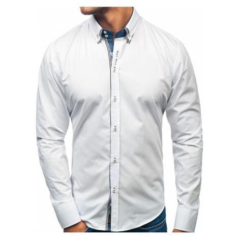 Biela pánska elegantá košeľa s dlhými rukávmi BOLF 2774
