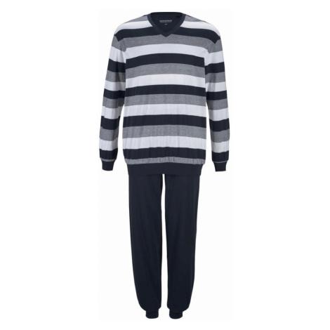 SCHIESSER Dlhé pyžamo  biela / tmavomodrá / sivá