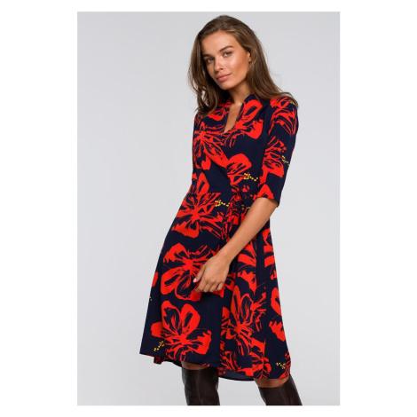 Modro-červené zavinovacie šaty S247