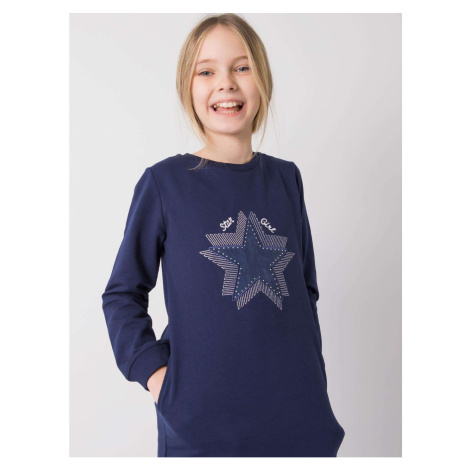Navy blue tunic for a girl with long sleeves