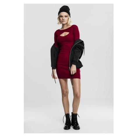 Dámske šaty URBAN CLASSICS Ladies Cut Out Dress burgundy