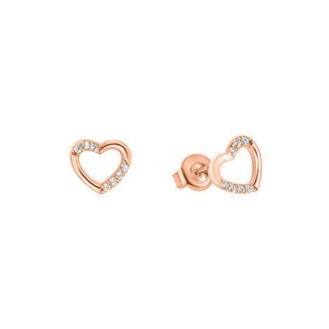 Brilio Náušnice z ružového zlata srdce so zirkónmi GOLD053_AU_R