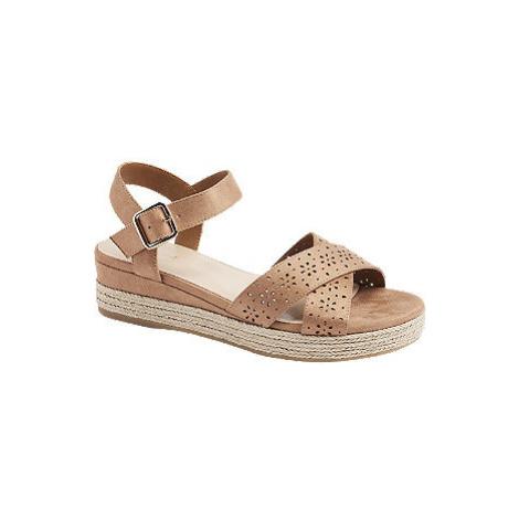 Hnedé sandále na klinovom podpätku Graceland