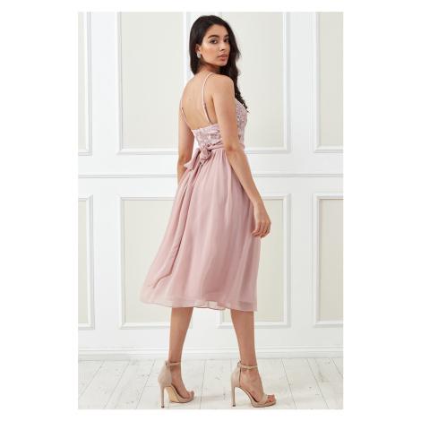 Svetloružové midi šaty Audrey