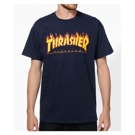 Pánske tmavomodré tričko Thrasher Flame logo Farba: Modrá