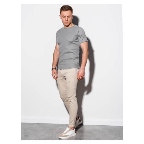 Pánske tričko s potlačou S1182 - šedá