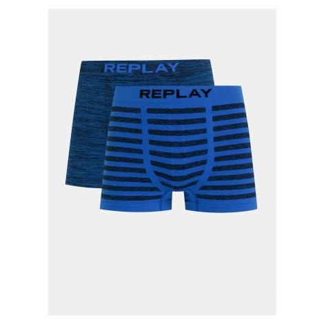 Sada dvoch boxeriek v modrej farbe Replay