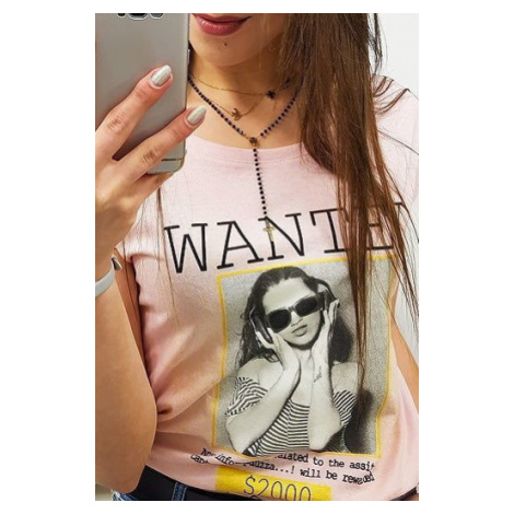 Women's T-shirt WANTED with a print, powder pink RY0822 DStreet