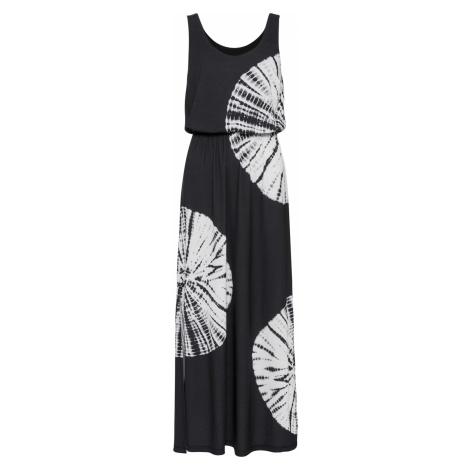 Maxi šaty s batikovanou potlačou a kamienkami bonprix
