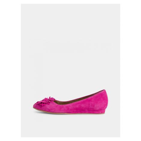 Ružové semišové baleríny Tamaris