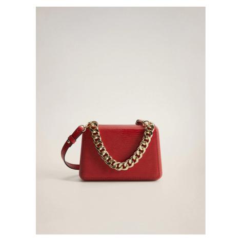 Red crossbody handbag with snake pattern Mango Estel