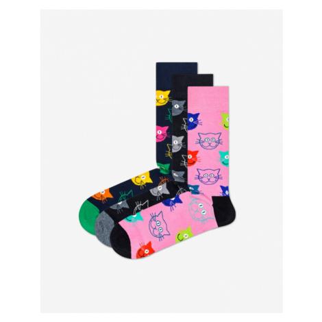 Happy Socks Cat Gift Box Ponožky 3 páry Čierna Modrá Ružová