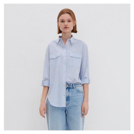 House - Pásikavá oversize košeľa - Modrá