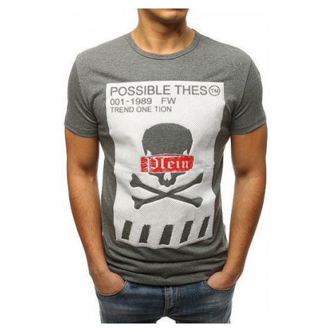 Men's T-shirt with an anthracite print RX3182 DStreet