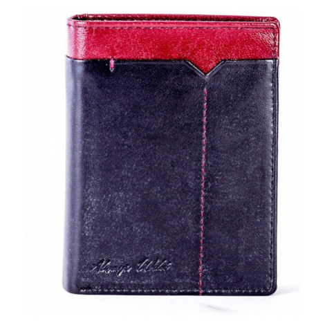 Black and burgundy wallet for a man with a decorative finish