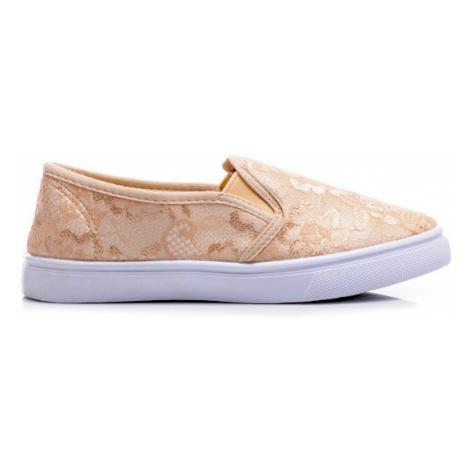 Béžové čipkované tenisky slip on Bellucci Shoes