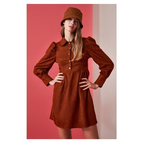 Trendyol Camel Button Detailed Velvet Dress