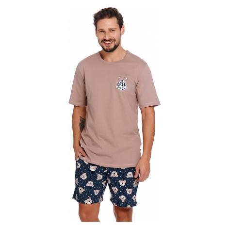 Pánske tmavomodro-béžové pyžamo z organickej bavlny PMB4245