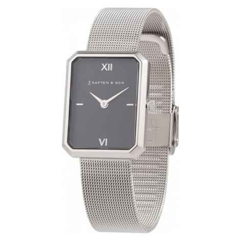 Kapten & Son Analógové hodinky 'Grace Mesh'  čierna / strieborná