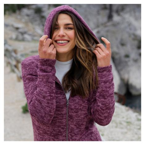 Blancheporte Striekaný sveter na zips, so syntetickou kožušinou purpurový melír