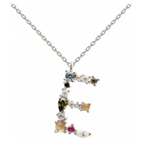 """PD PAOLA Strieborný náhrdelník písmena """"E"""" sa zirkónmi CO02-100-U (retiazka, prívesok)"""