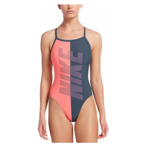 Nike RIFT RACERBACK šedá - Dámske jednodielne plavky