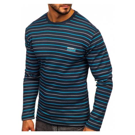 Grafitové pánske prúžkované tričko s dlhými rukávmi Bolf 1519 COMEOR