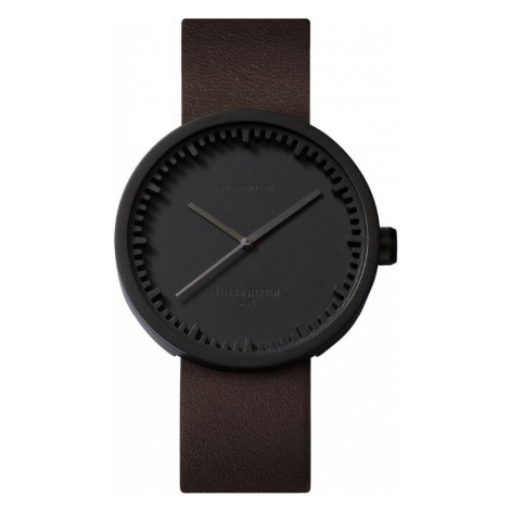 LEFF TUBE WATCH D42 / BLACK WITH BROWN LEATHER STRAP