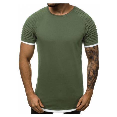 Predĺžené pánske tričko khaki O/1262