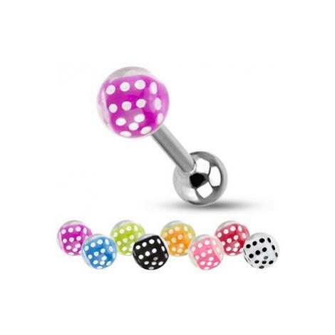 Barbell do jazyka z ocele, strieborná farba, guličky, farebné hracie kocky - Farba piercing: Zel