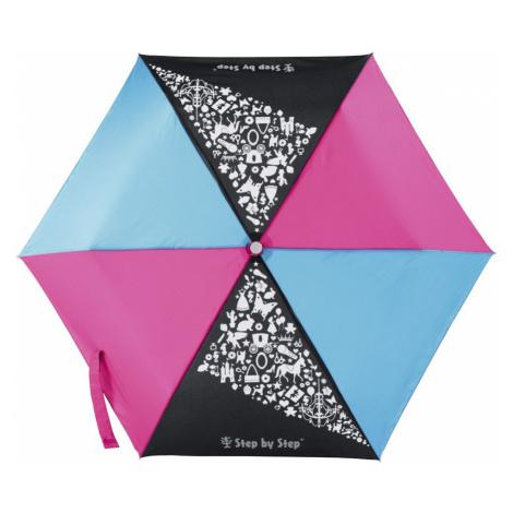 Detský skladací dáždnik čierna/červená/modrá