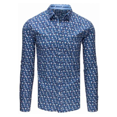 Pánska Slim Fit košeľa modrá so vzorom dx1644