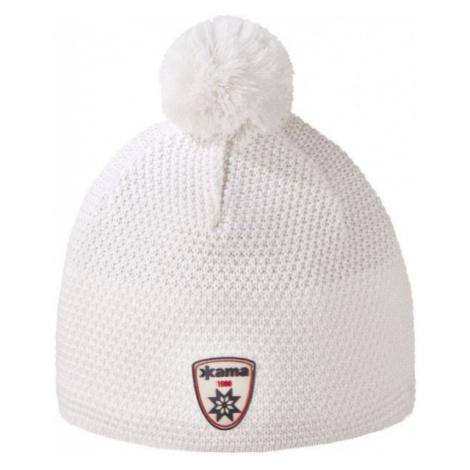 Kama ČIAPKA MERINO BAMBULE biela - Pletená čiapka