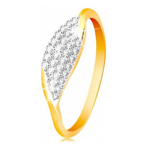 Prsteň v 14K zlate - veľké zrnko so vsadenými zirkónikmi čírej farby - Veľkosť: 60 mm
