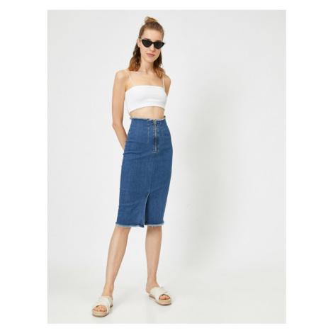 Koton Women's Navy Blue High Waist Zippered Slit Detail Midi Jean Skirt
