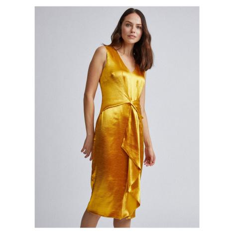 Saténové puzdrové šaty v zlatej farbe Dorothy Perkins