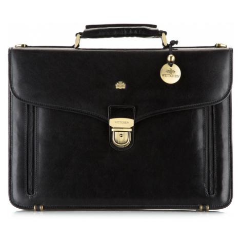 Čierna luxusná pánska aktovka z pravej kože Wittchen