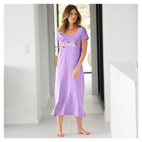 Blancheporte Dlhá nočná košeľa s potlačou love lila
