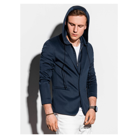 Ombre Clothing Men's casual hooded blazer jacket M156 Navy/Blue
