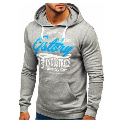 Men's sweatshirt Glo-Story 6216 with hood - gray, DStreet