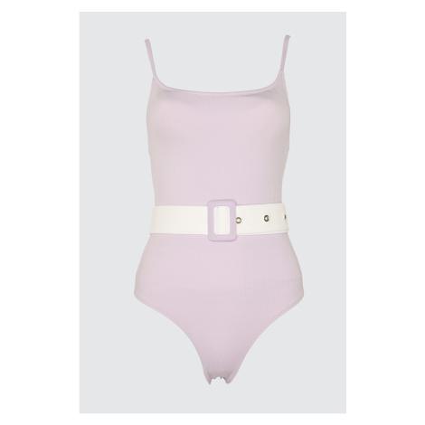 Trendyol Lila Textured Belt Detailed Swimsuit