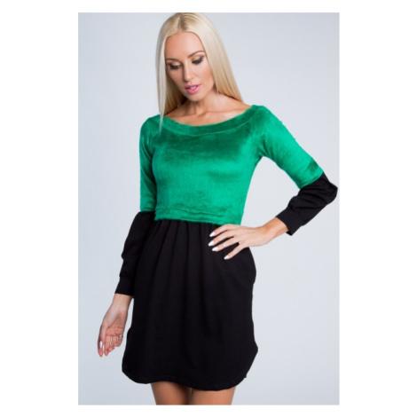 Dvojfarebné, krásne, krátke šaty s dlhým rukávom, zelené FASARDI