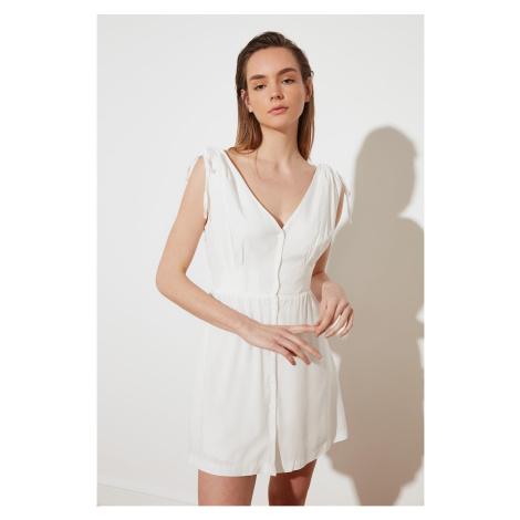 Trendyol White V-Neck ButtonEd Dress