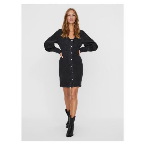 Čierne rifľové šaty VERO MODA Bernice