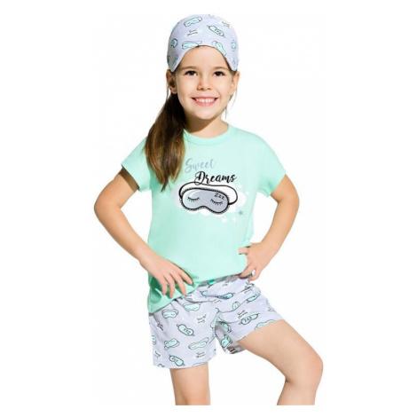 Dievčenské bavlnené pyžamo Hanička tyrkysové Taro